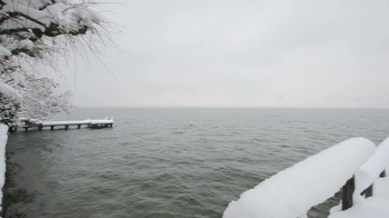 Snow covered pontoon