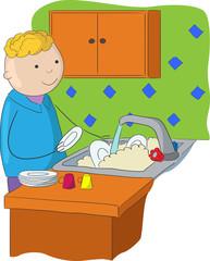 Boy washing plates