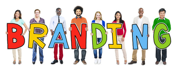 Group of People Standing Holding Branding Letter Concept