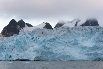 Glacier reaching the sea