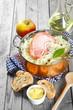 Leinwanddruck Bild - Gourmet Healthy Recipe on Wooden Table