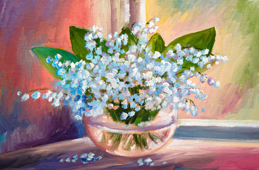 Oil painting of spring lily of the valley flowers in a vase on