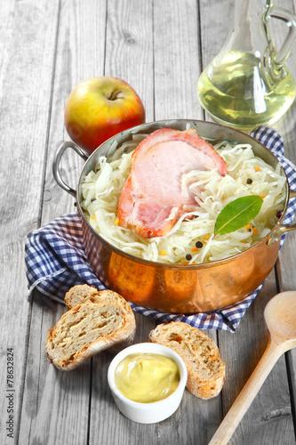Leinwanddruck Bild Gourmet Healthy Recipe on Wooden Table