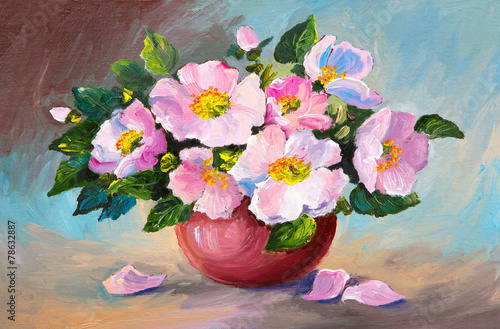 Oil painting of spring pink wild roses in a vase on canvas, art