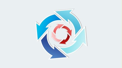 rotating two different circles of arrows with different blue col