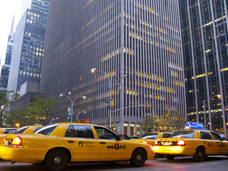Yellow cabs in a street of New York