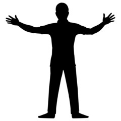 Silhouette man show up two hands