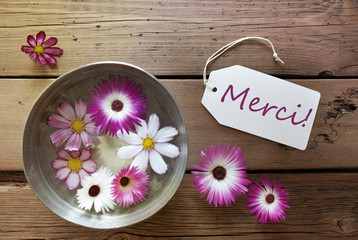 Silver Bowl With Cosmea Blossoms With Text Merci