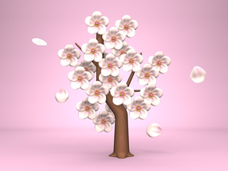 Cherry Blossoms On Pink Background