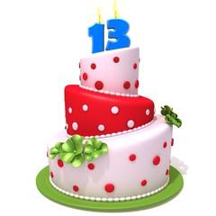 Birthday cake with number thirteen