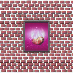 paintings with glowing hearts on a brick wall. vector