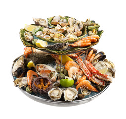 Raw Mixed seafood isolated on white background