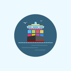 Icon cargo container ship