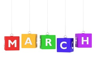 March tag on colored hanging cubes.