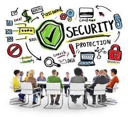 Ethnicity People Brainstorming Security Protection Concept