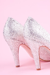 shiny high heel shoes with rhinestones