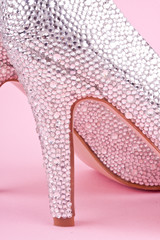 shiny high heel shoe with rhinestones