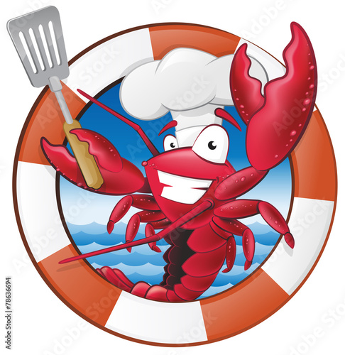 Fototapeta Cute Lobster Chef Character in Nautical Themed Frame.