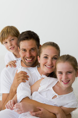 Family portrait in white