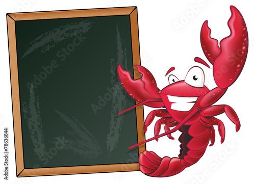 Fototapeta Cute Lobster with Sign Board.