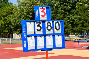 Scoreboard at the pole vault athletics