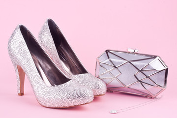 shiny high heel shoes ,purse and necklace