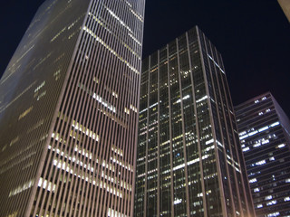Buildings of New York City at night