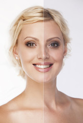 Face of beautiful smiling blonde woman before and after retouch