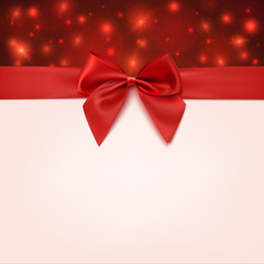 Greeting card template with red bow and a ribbon.
