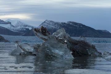 Transparent ice cake on the sea