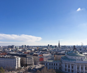 Cityscape of central Vienna with the Burgtheater