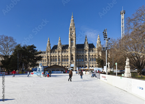 Ice skaters at Wiener Eistraum in front of the City Hall Vienna