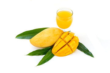 Yellow mango and mango juice