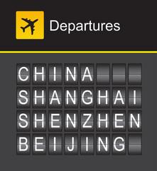 China flip alphabet airport departures