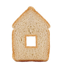 one slice of wheat bread in house symbol isolated on white