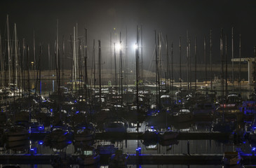 Italy; 23 february 2015, yachts at night - EDITORIAL