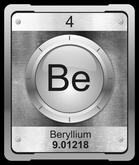 Beryllium symbol from periodic table on metallic icon