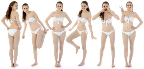 Teen in Bikini in verschiedenen Posen