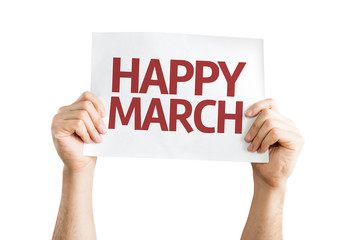 Happy March card isolated on white background