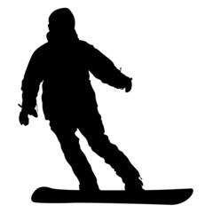 Black silhouette  snowboarder on white background. Vector illust