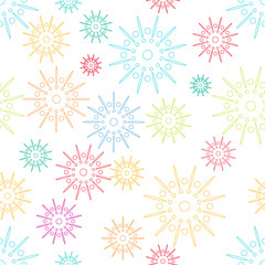 Colorful abstract seamless pattern with flowers style