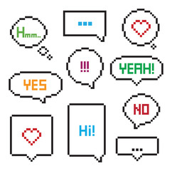 Pixel art 8-bit speech bubble set
