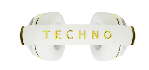 white with gold decor exclusive headphones for music techno.