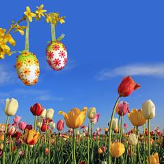 Hintergrund Ostern mit Tulpen und Ostereiern