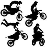 Fototapety Set silhouettes Motocross rider on a motorcycle. Vector illustra