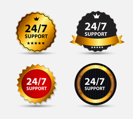 Vector 24-7 SUPPORT Sign, Label Template