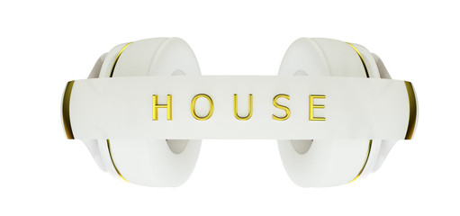 white with gold decor exclusive headphones for music house.