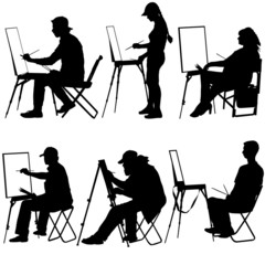 Silhouette, artist at work on a white background, vector illustr