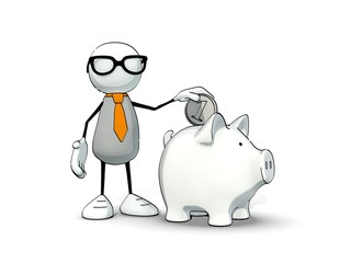little sketchy man with glasses inserts coin in a piggy-bank