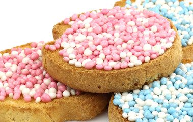 rusks with white and blue and white and pink anise seed sprinkle